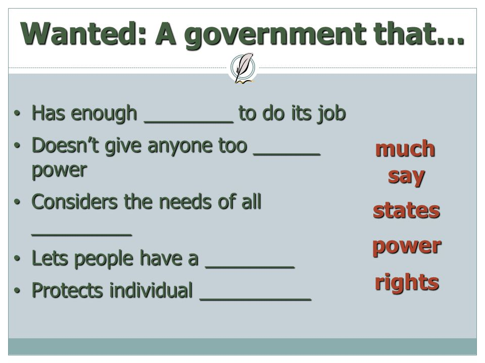 Wanted: A government that…
