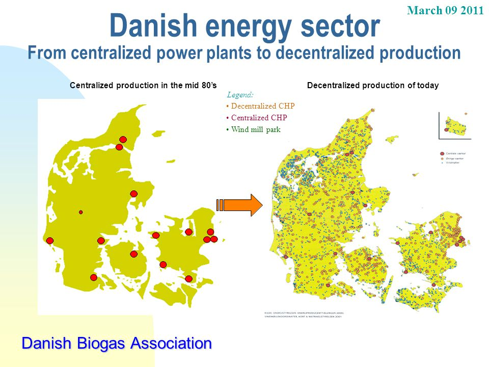 05-04-2017 Danish energy sector From centralized power plants to decentralized production. Centralized production in the mid 80's.
