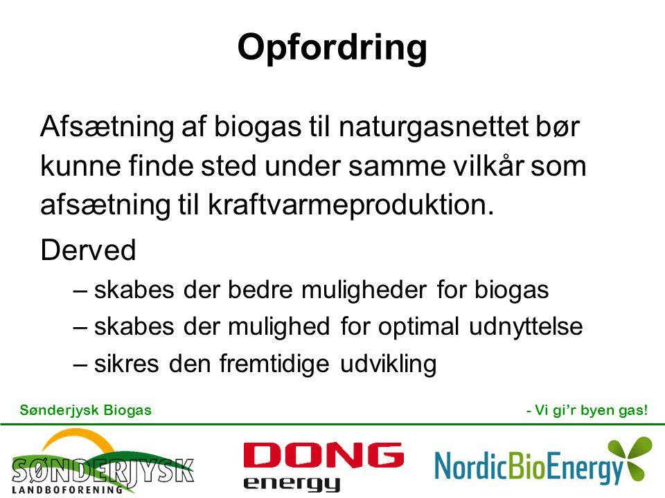 Opfordring Afsætning af biogas til naturgasnettet bør