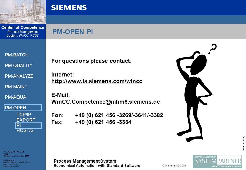 PM-OPEN PI For questions please contact: Internet: