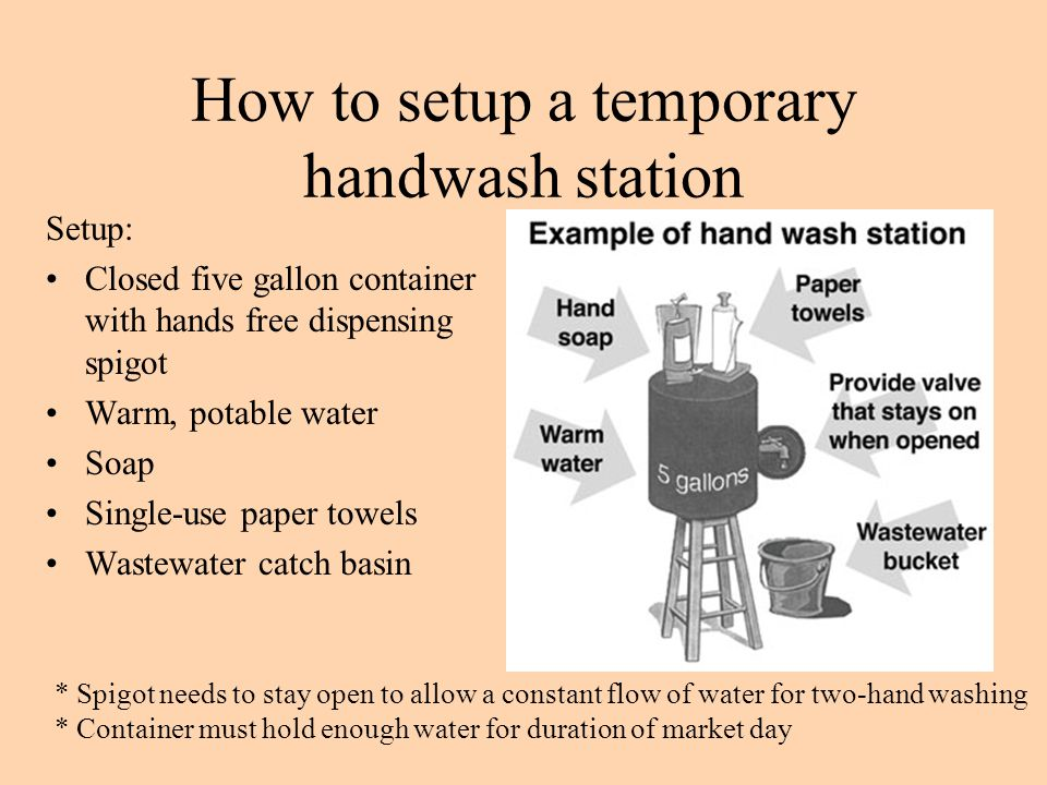How to setup a temporary handwash station
