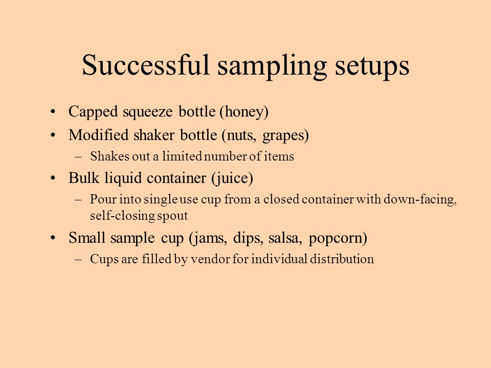 Successful sampling setups