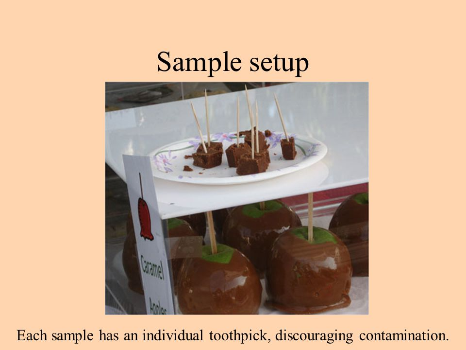 Sample setup Each sample has an individual toothpick, discouraging contamination.