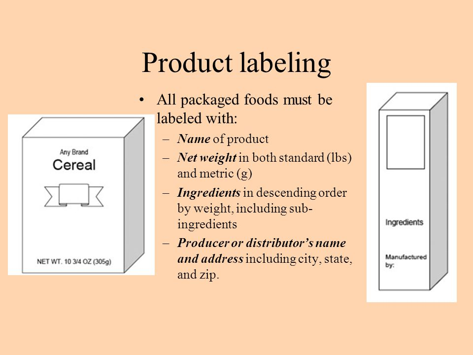 Product labeling All packaged foods must be labeled with: