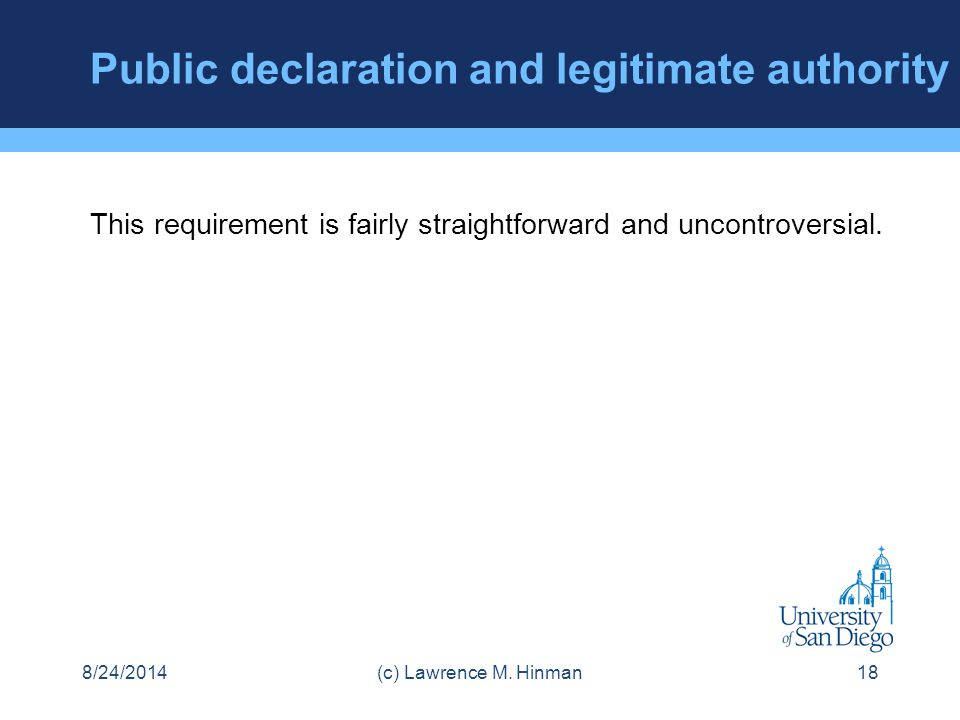 Public declaration and legitimate authority