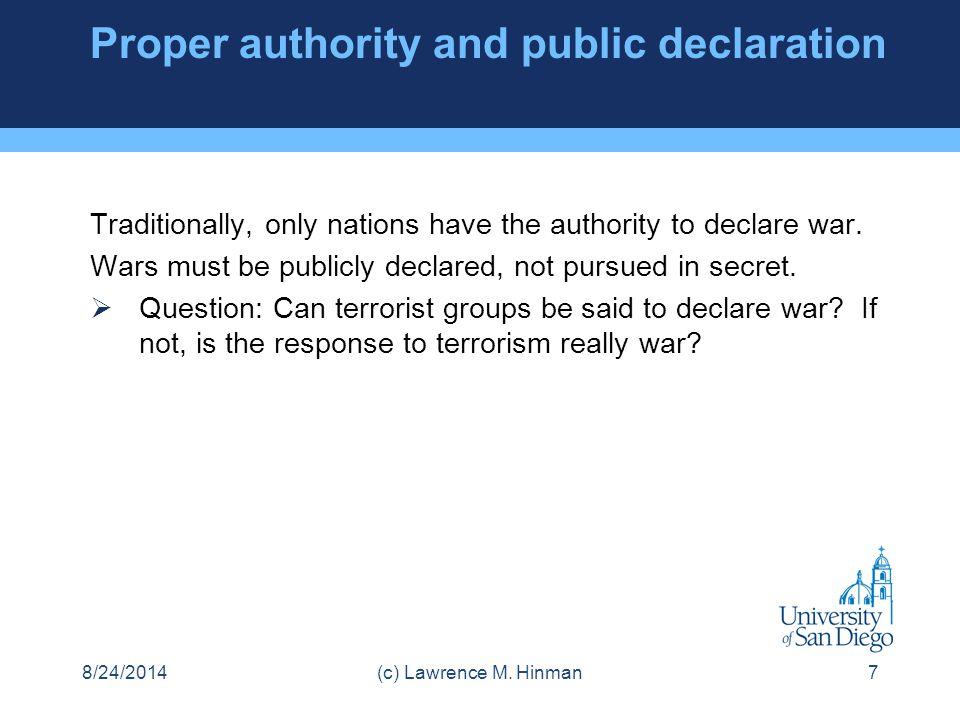 Proper authority and public declaration