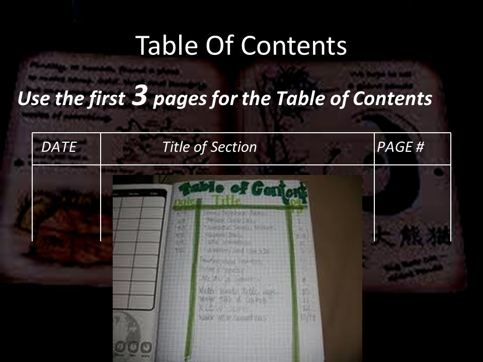 Table Of Contents Use the first 3 pages for the Table of Contents