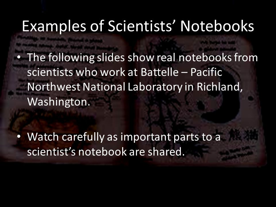 Examples of Scientists' Notebooks