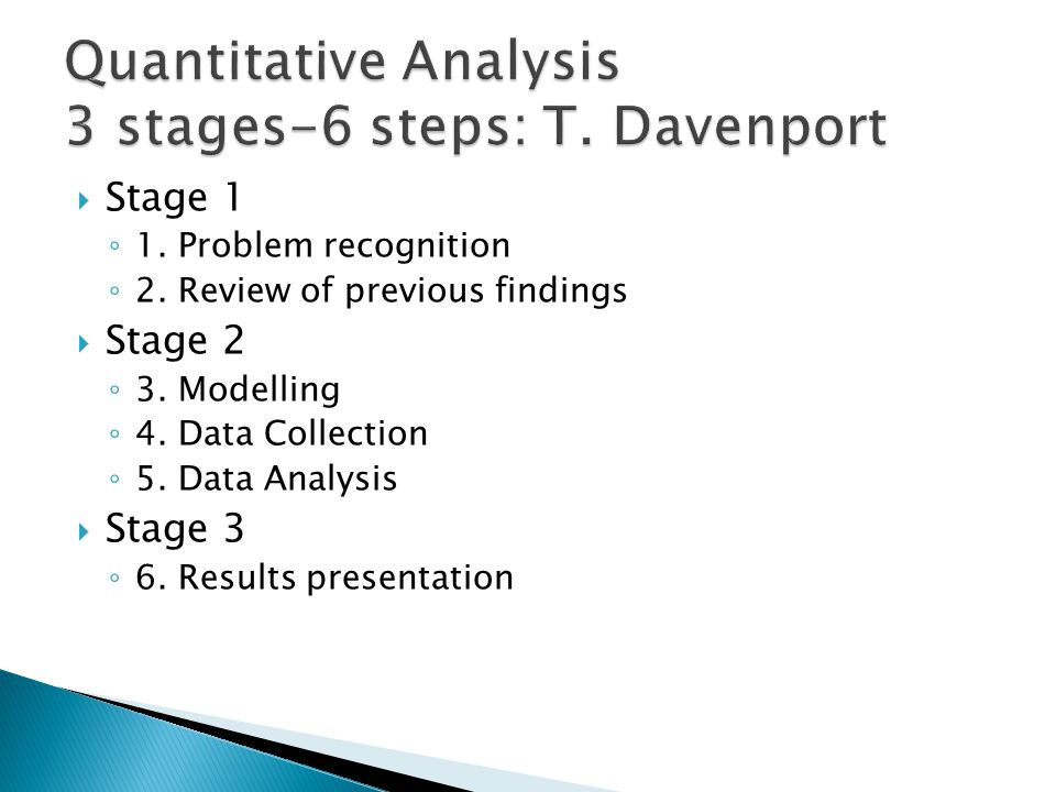 Quantitative Analysis 3 stages-6 steps: T. Davenport