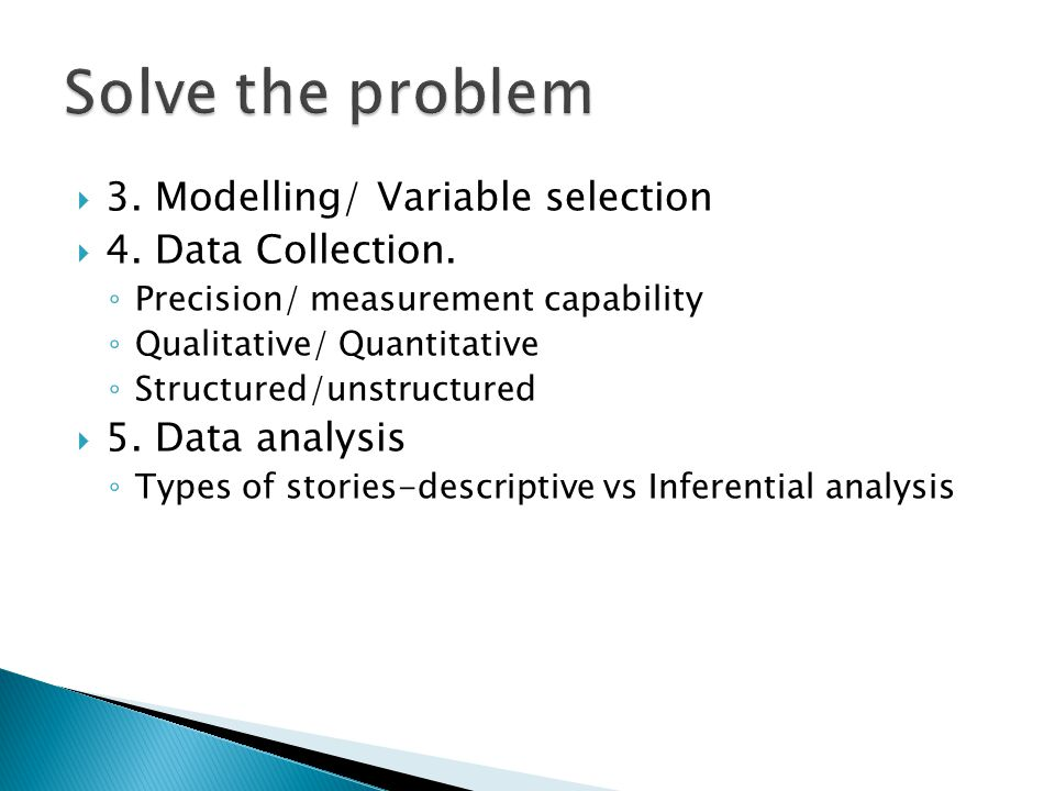 Solve the problem 3. Modelling/ Variable selection 4. Data Collection.