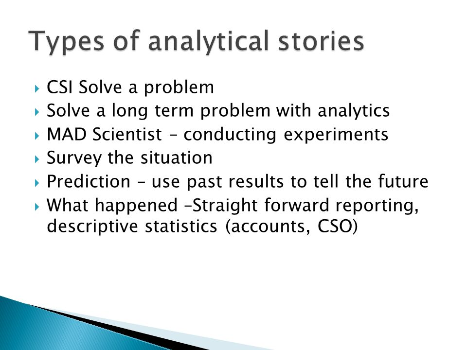 Types of analytical stories