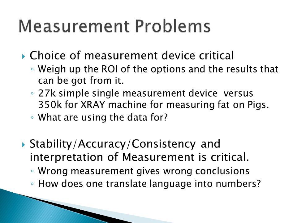 Measurement Problems Choice of measurement device critical