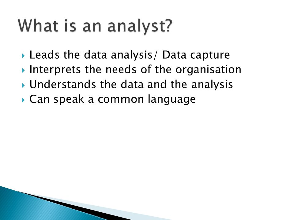 What is an analyst Leads the data analysis/ Data capture