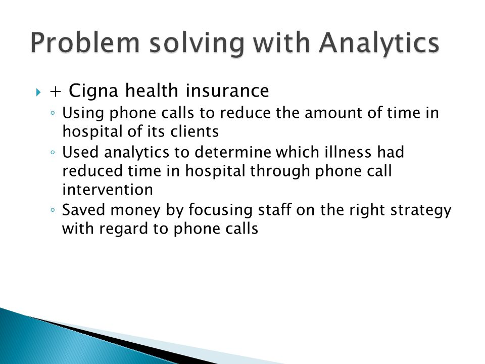 Problem solving with Analytics
