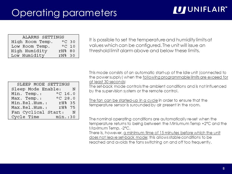 July 2007 Operating parameters.