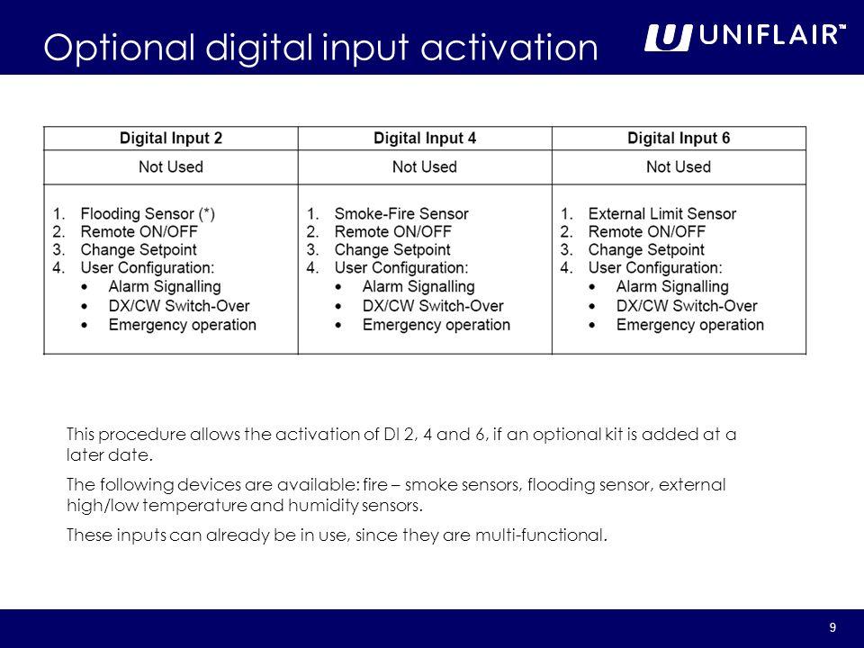 Optional digital input activation