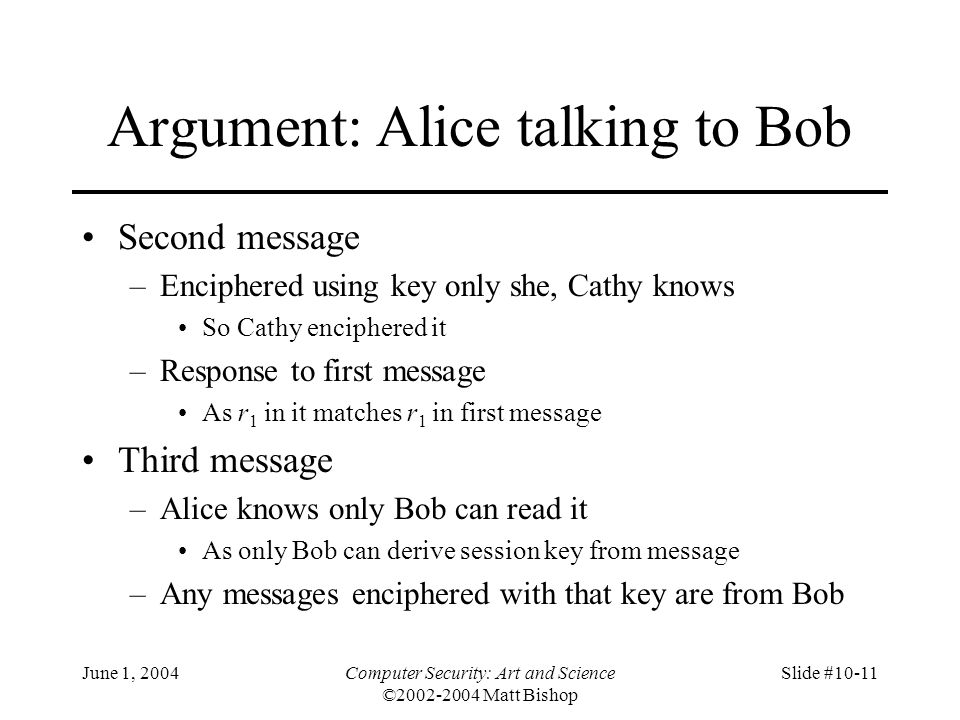 Argument: Alice talking to Bob