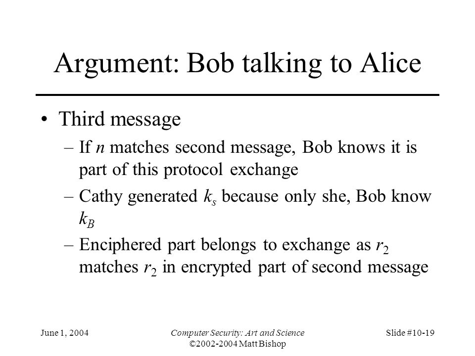 Argument: Bob talking to Alice