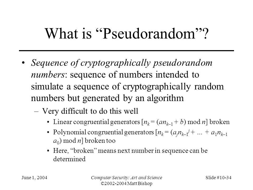 What is Pseudorandom