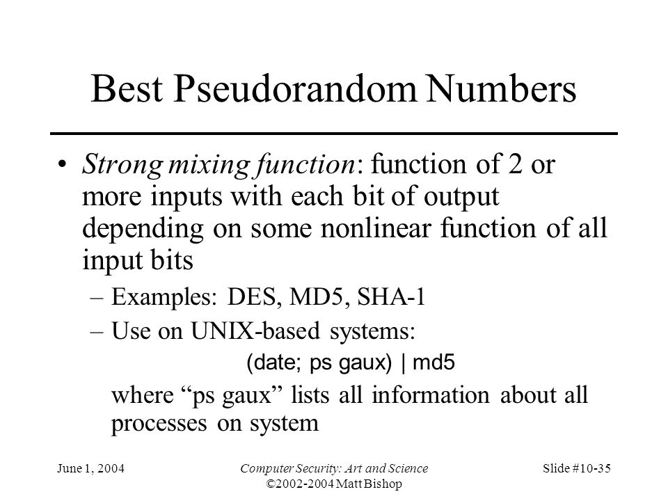 Best Pseudorandom Numbers