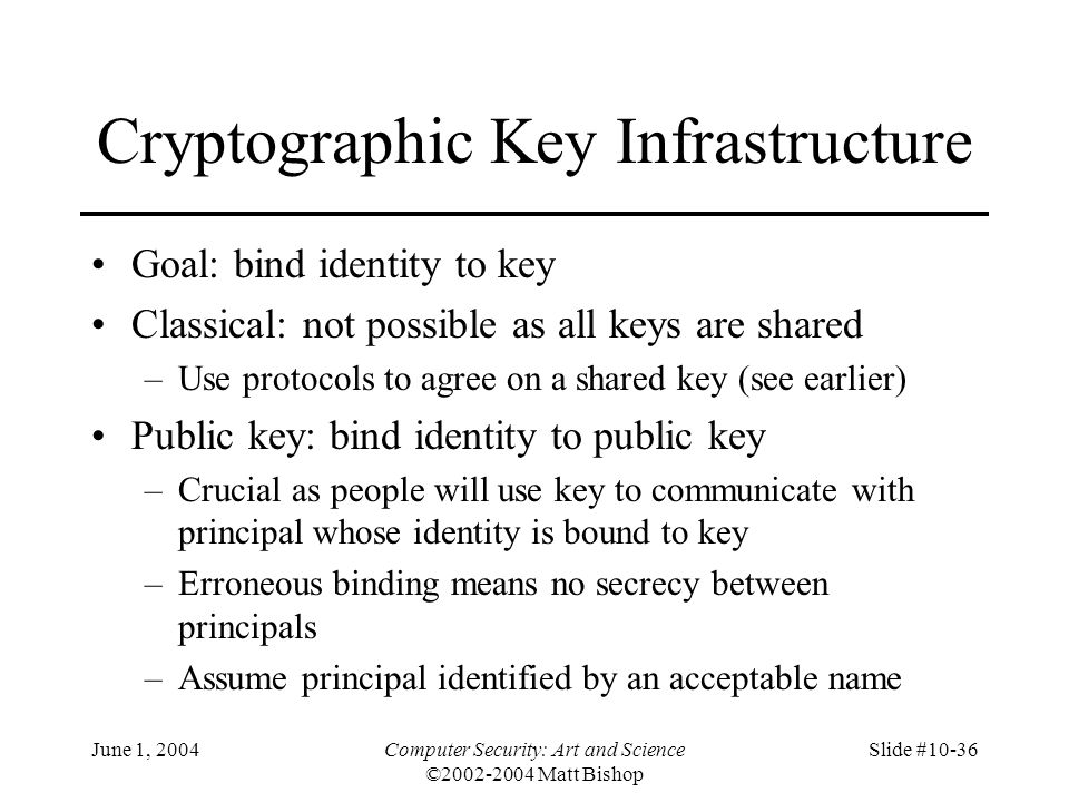 Cryptographic Key Infrastructure