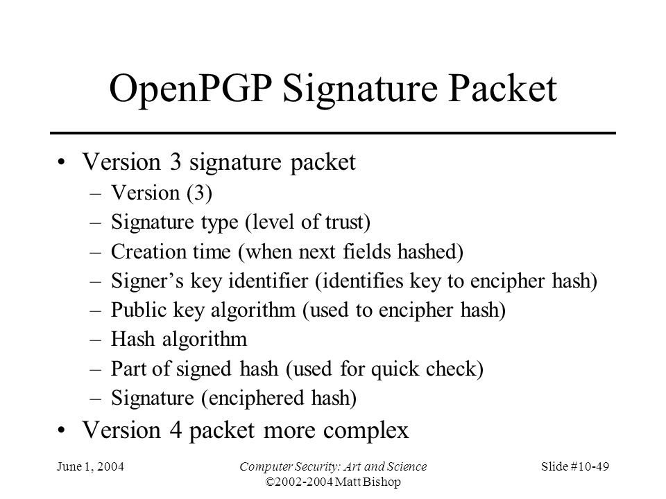 OpenPGP Signature Packet