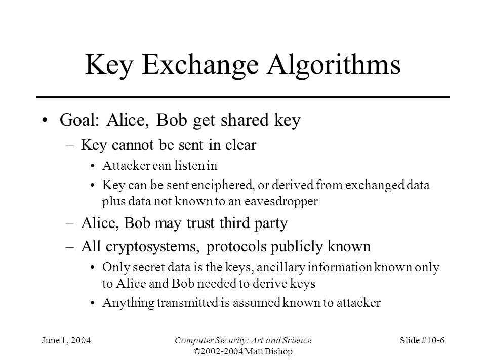 Key Exchange Algorithms