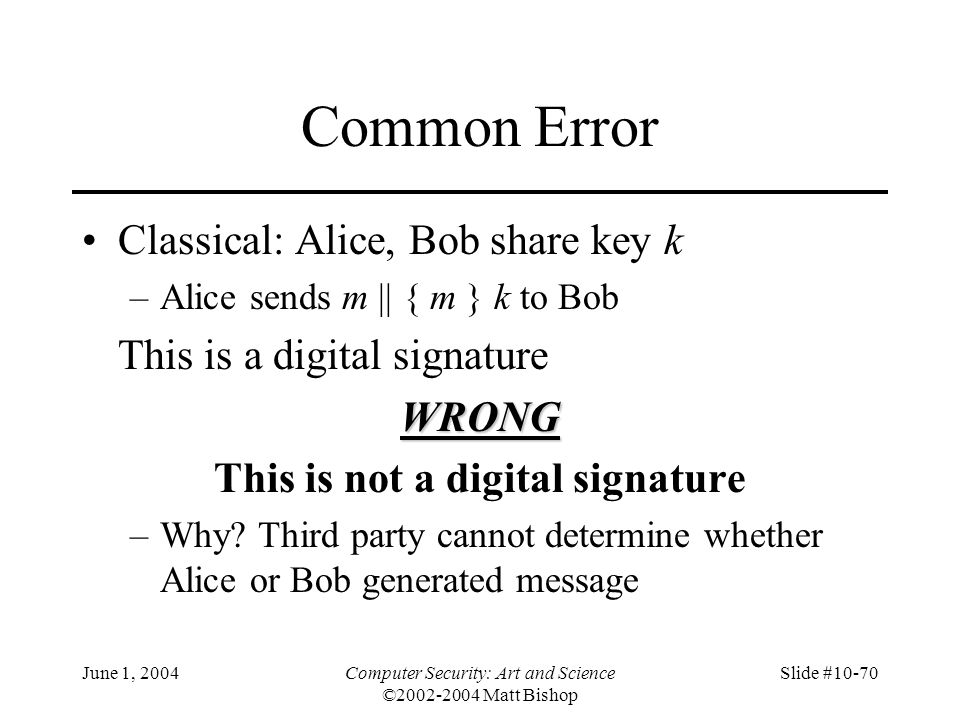 Common Error Classical: Alice, Bob share key k