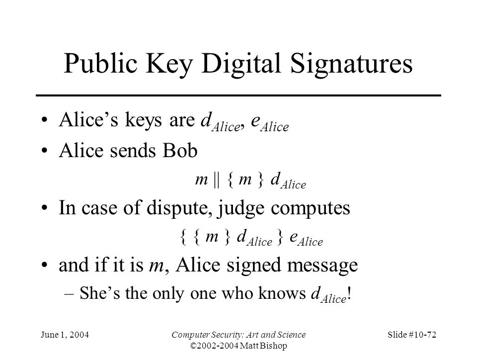 Public Key Digital Signatures