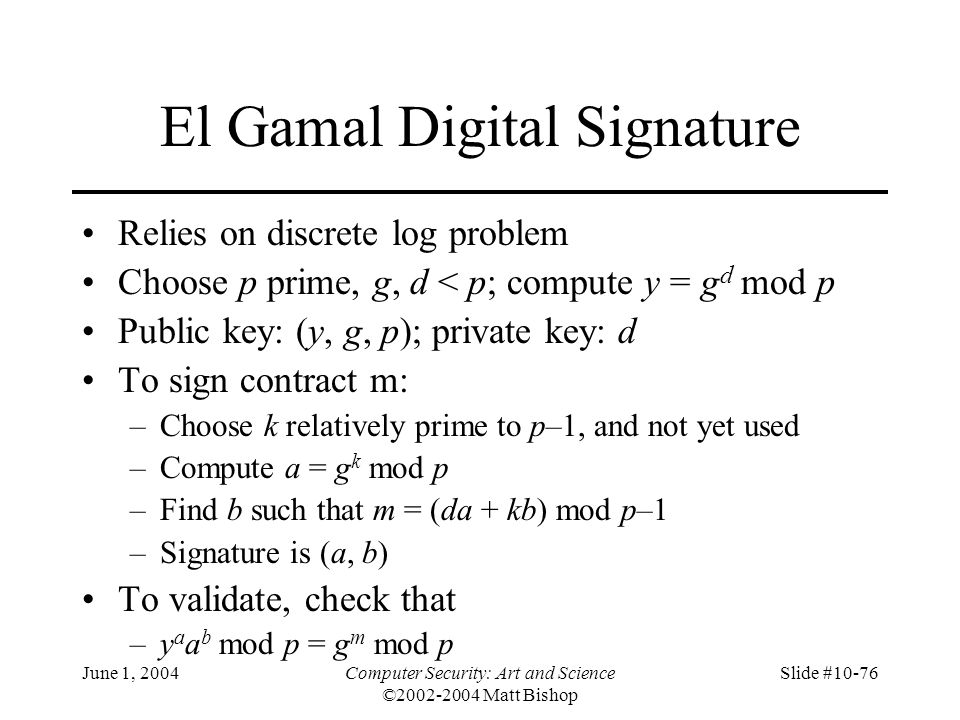 El Gamal Digital Signature