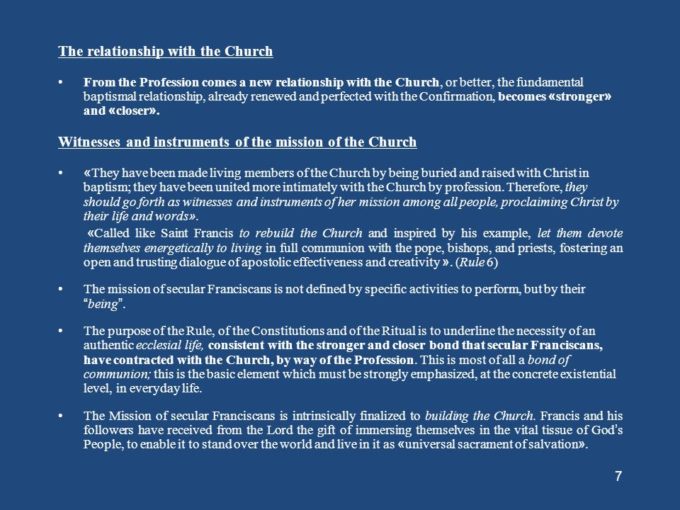 The relationship with the Church
