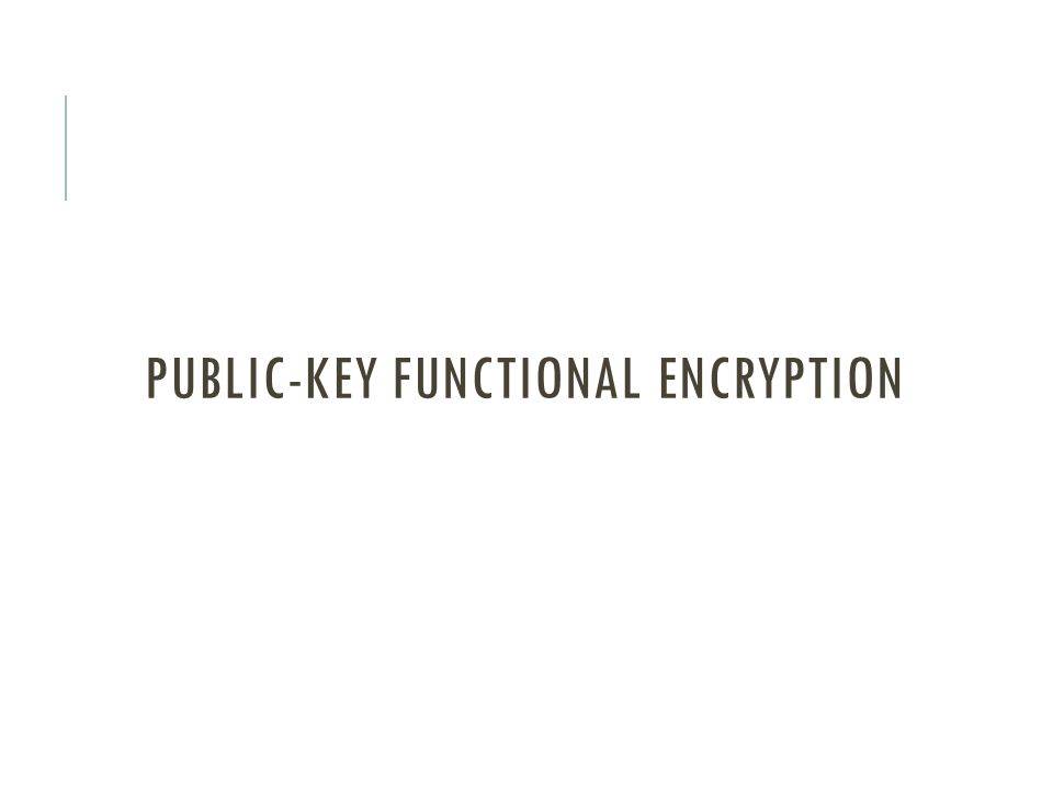 Public-key functional encryption
