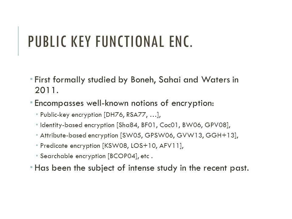 Public key Functional enc.