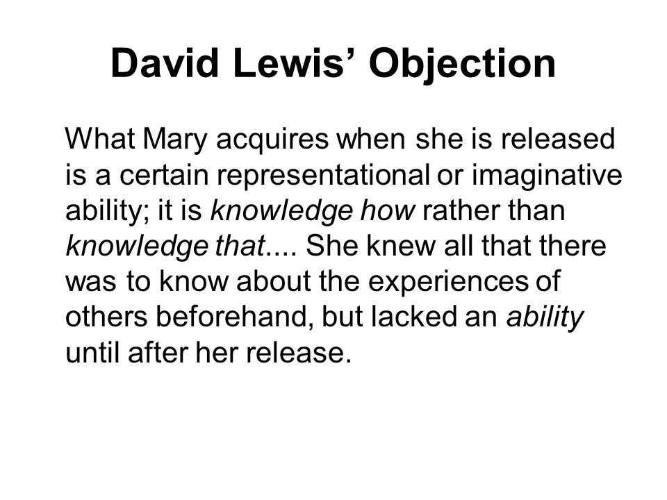 David Lewis' Objection