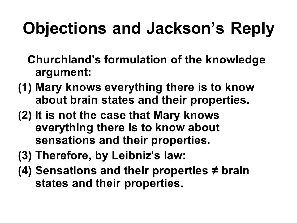 Objections and Jackson's Reply