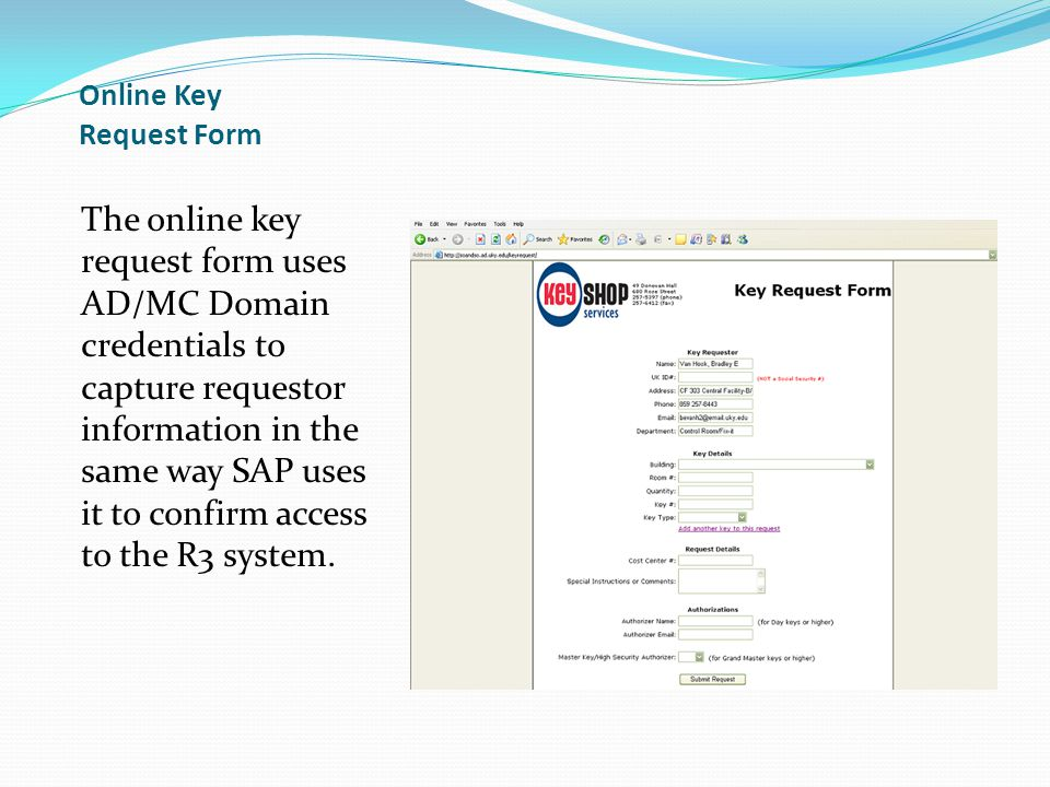 Online Key Request Form
