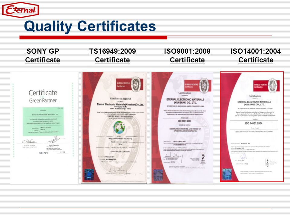 Quality Certificates SONY GP Certificate TS16949:2009 Certificate