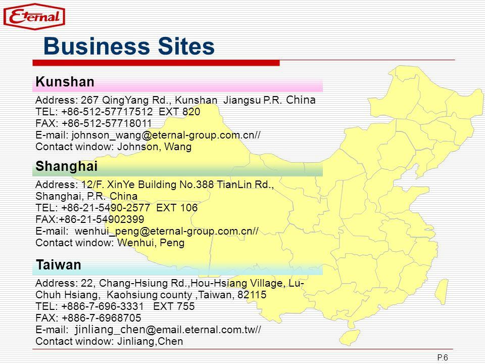 Business Sites Kunshan Shanghai Taiwan