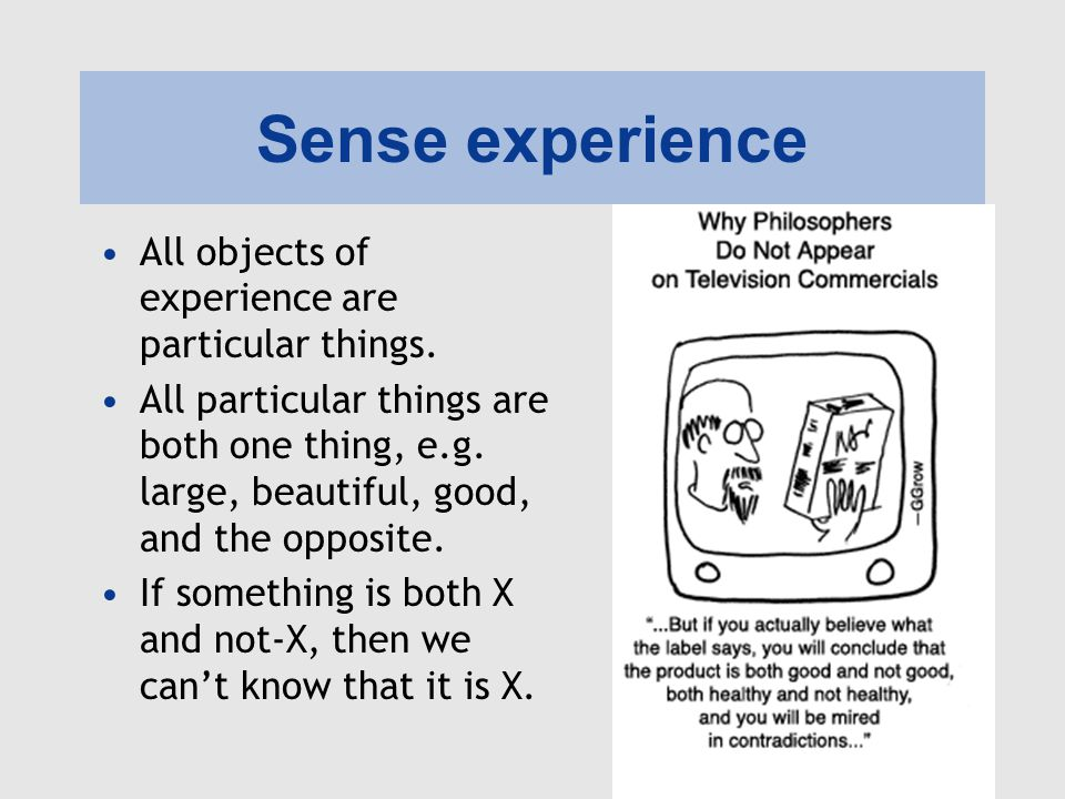 Sense experience All objects of experience are particular things.