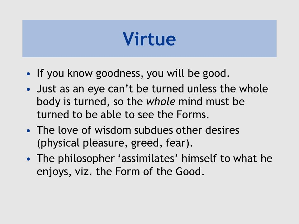 Virtue If you know goodness, you will be good.