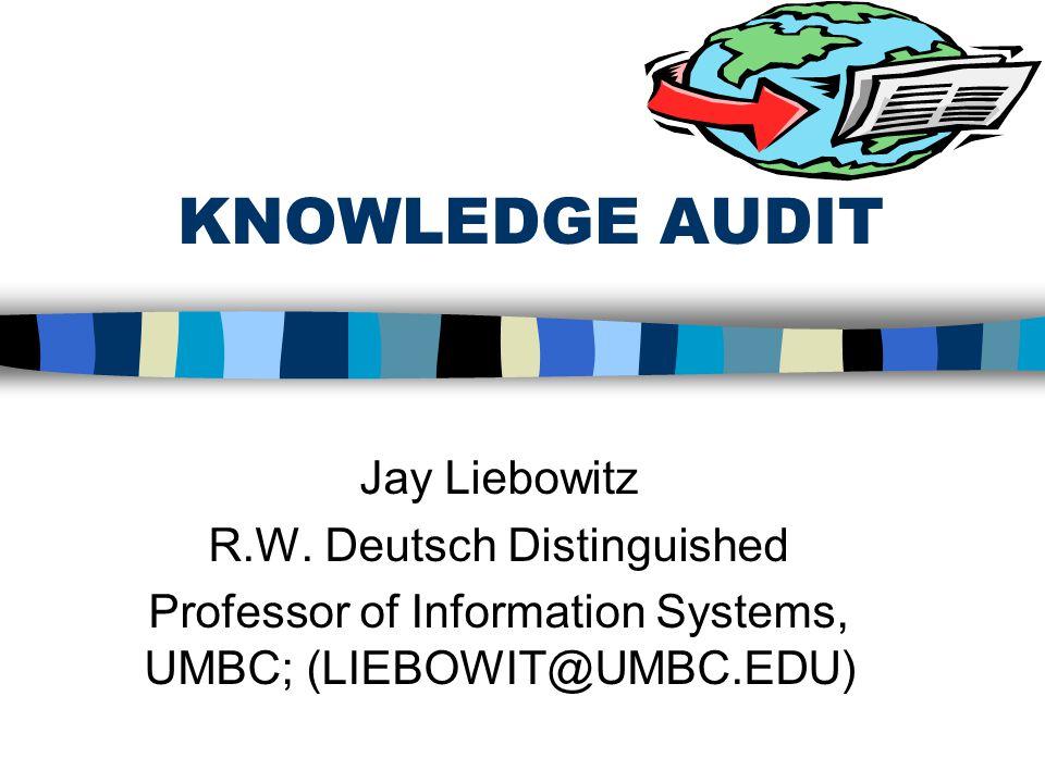 KNOWLEDGE AUDIT Jay Liebowitz R.W. Deutsch Distinguished