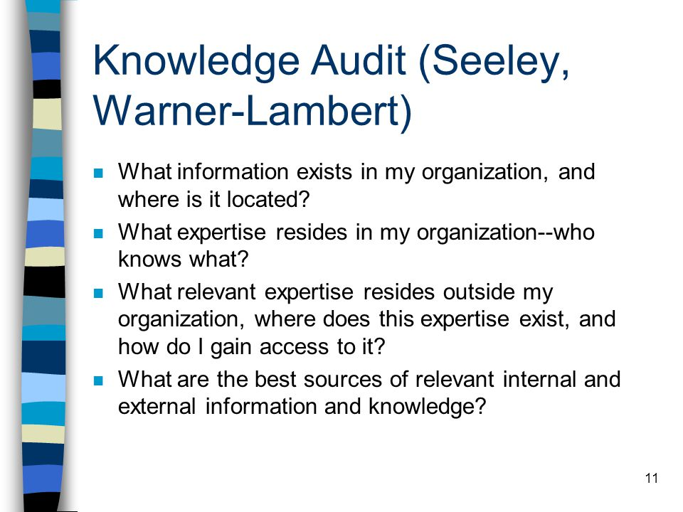 Knowledge Audit (Seeley, Warner-Lambert)
