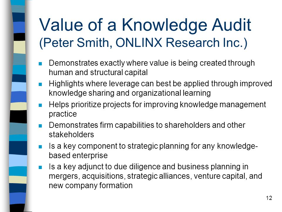 Value of a Knowledge Audit (Peter Smith, ONLINX Research Inc.)