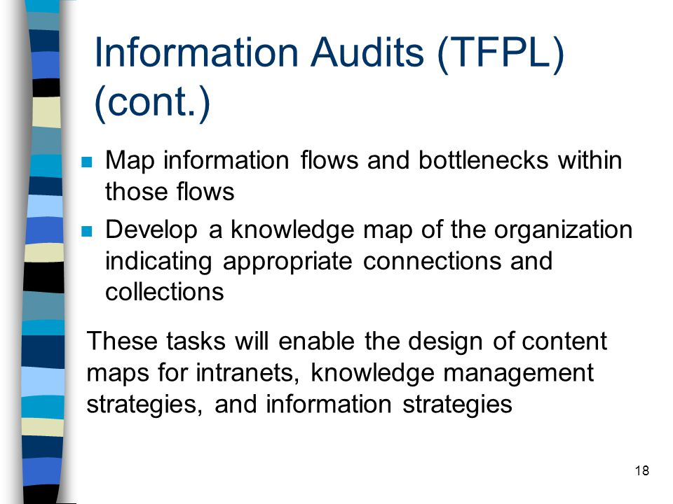 Information Audits (TFPL) (cont.)