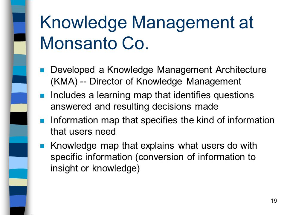 Knowledge Management at Monsanto Co.