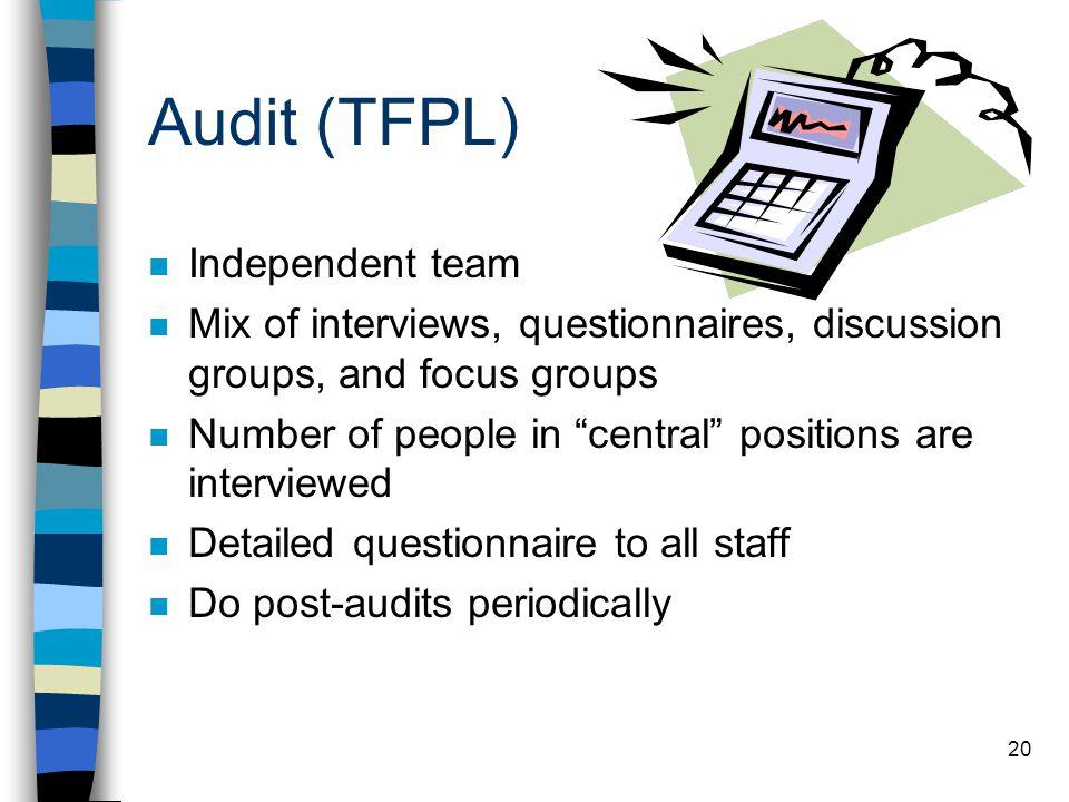 Audit (TFPL) Independent team