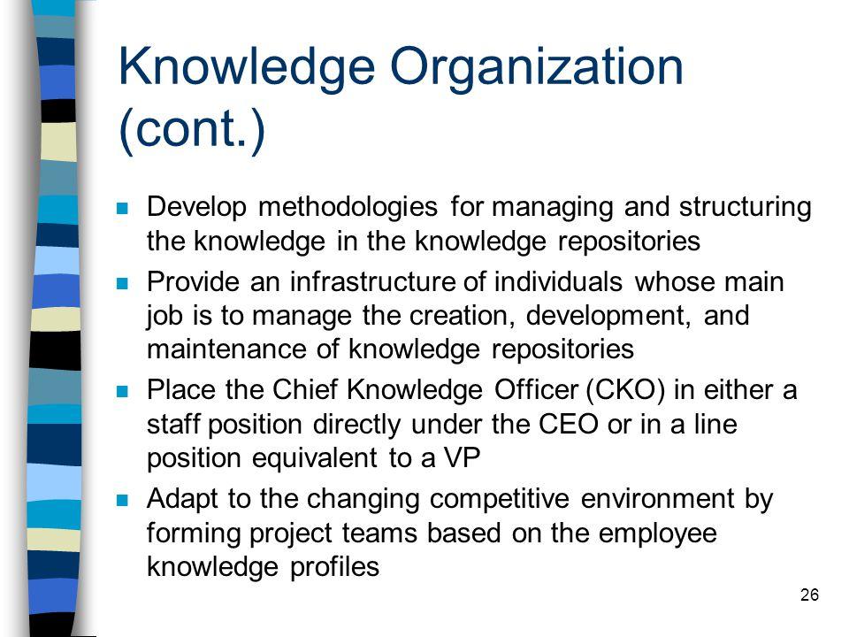 Knowledge Organization (cont.)