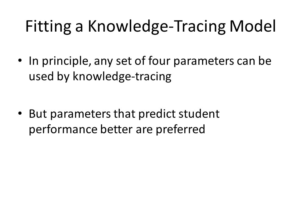 Fitting a Knowledge-Tracing Model