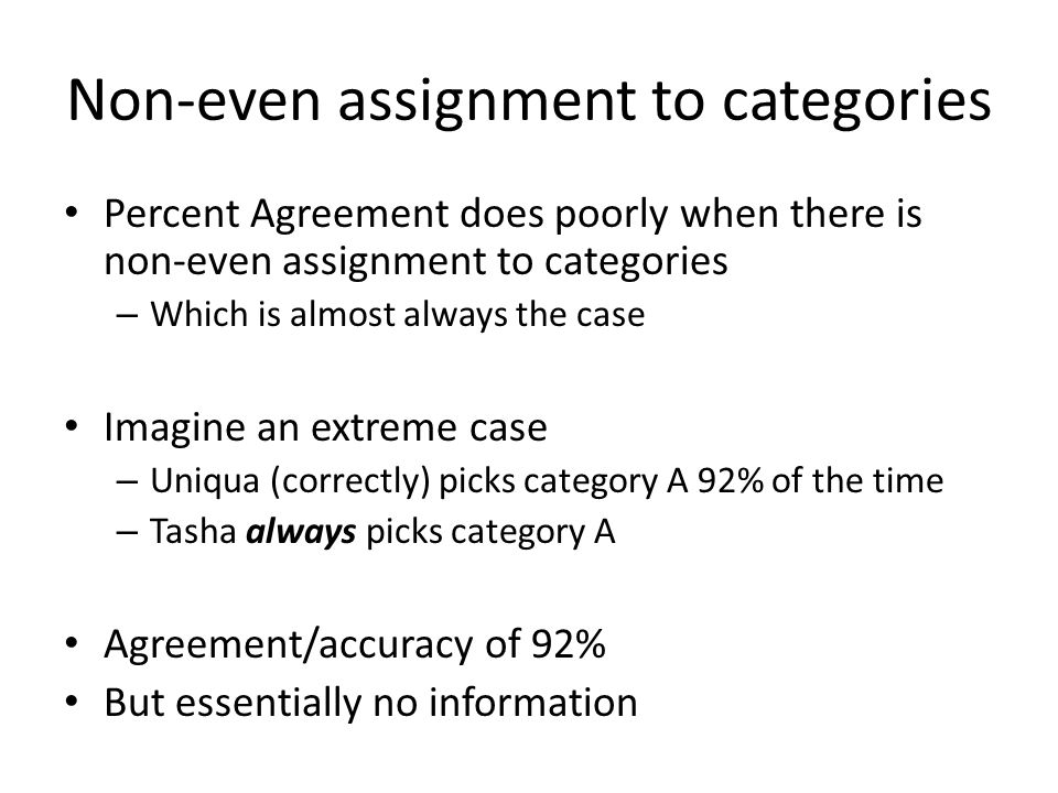 Non-even assignment to categories