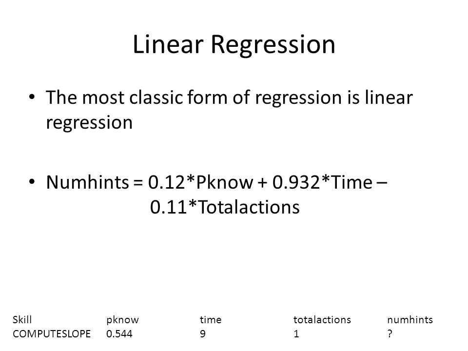 Linear Regression The most classic form of regression is linear regression. Numhints = 0.12*Pknow + 0.932*Time – 0.11*Totalactions.